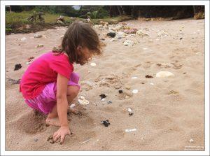 Саша играет с крабиком на пляже Батшеба.