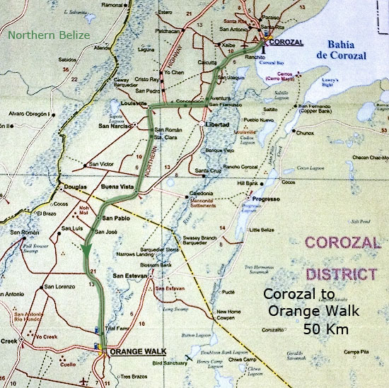 Дорога из Corozal в Orange Walk, 50 км