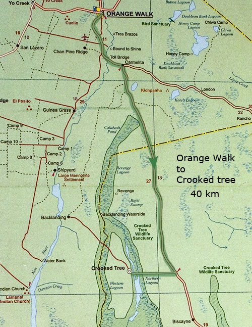 Дорога из Orange Walk в заповедник Crooked tree, 40 км