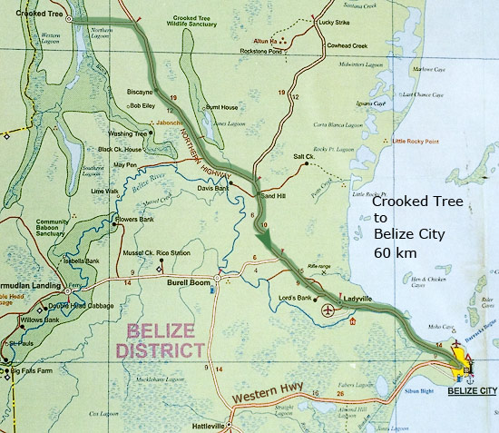 Дорога из Crooked tree в Belize City, 60 км