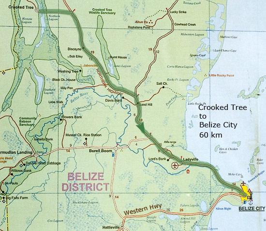 Дорога из Crooked tree в Belize City, 60 км