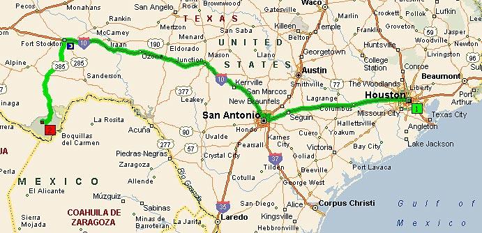 Хьюстон - Биг Бенд, Техас. 610 миль