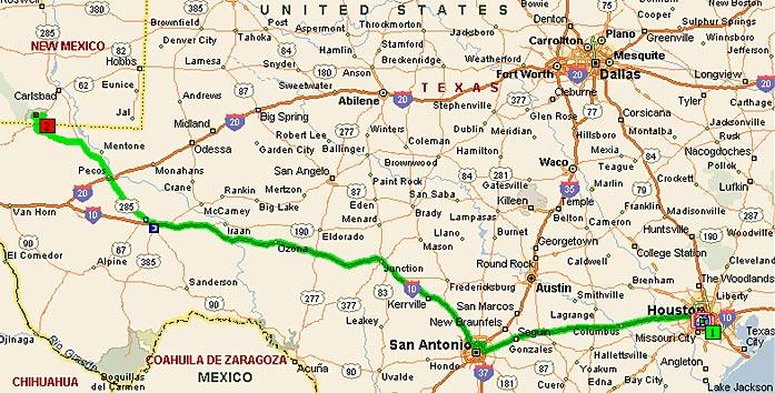 Хьюстон, Техас - Карлсбадские пещеры, Нью-Мексико, 660 миль