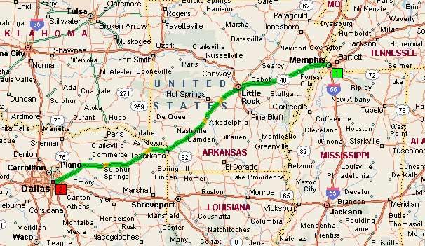 Мемфис, Теннеси - Даллас, Техас 455 миль