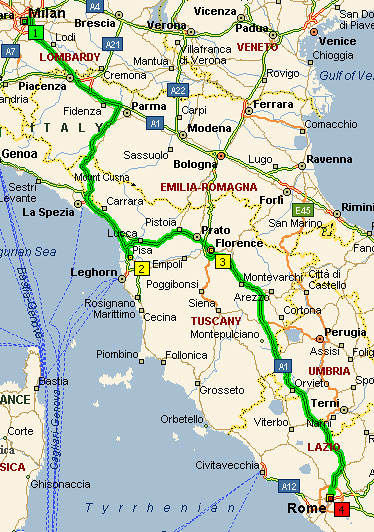 Милан-Рим, 660 км