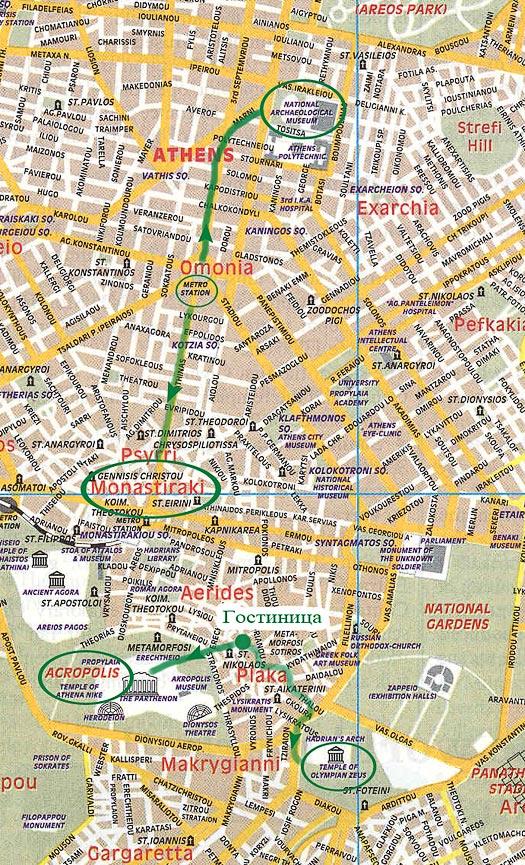 Карта центра Афин