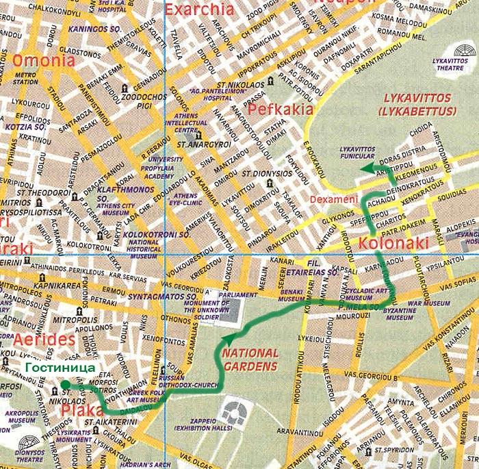 Карта маршрута до холма Ликавиттос