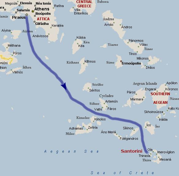 Карта движения парома из порта Пирей к Санторини