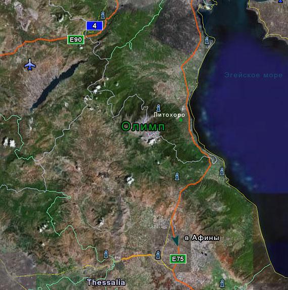 Карта Олимпа