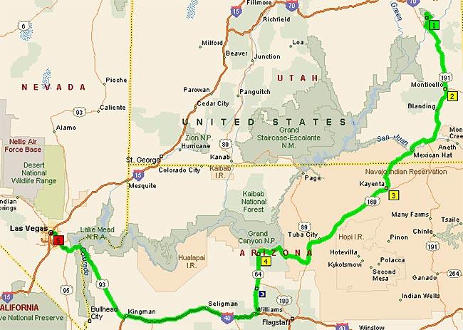 Arches NP - Las Vegas 622 мили
