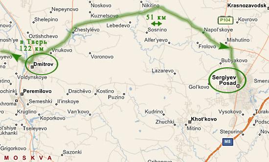 Трасса А108: отрезок Дмитров - Сергиев Посад