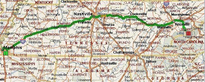 Мемфис, Теннеси - Гетлинбург, Теннеси 432 мили