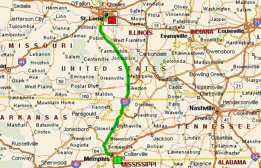 Мемфис, Теннеси - Сент-Луис, Миссури 285 миль