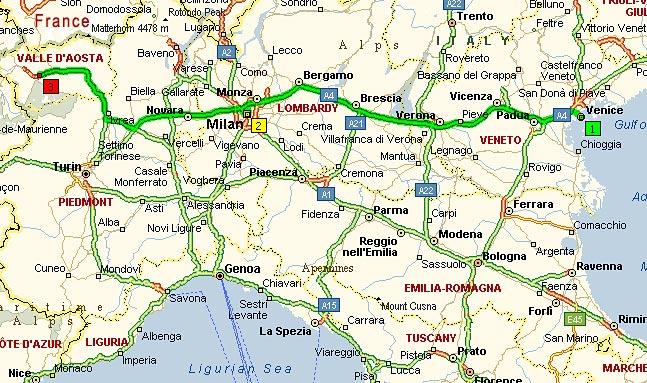 Венеция-Альпы, 470 км