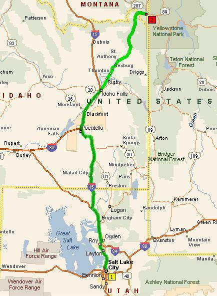 Salt Lake City - Yellowstone NP, 320 миль